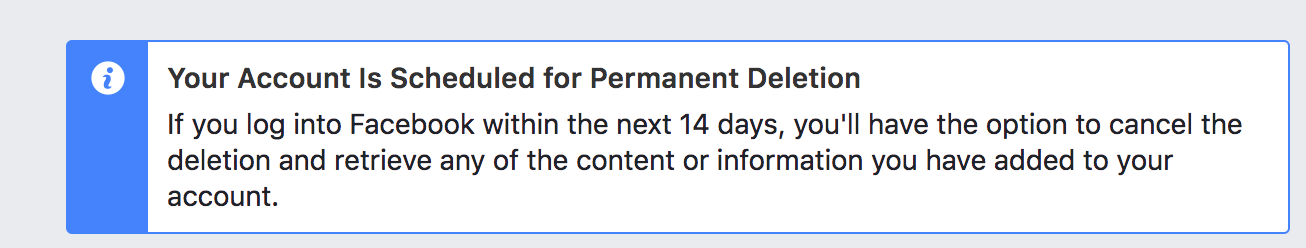 facebook account was scheduled for delete